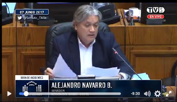 Intervención del senador chileno Alejandro Navarro ante su Parlamento, acerca deVenezuela.